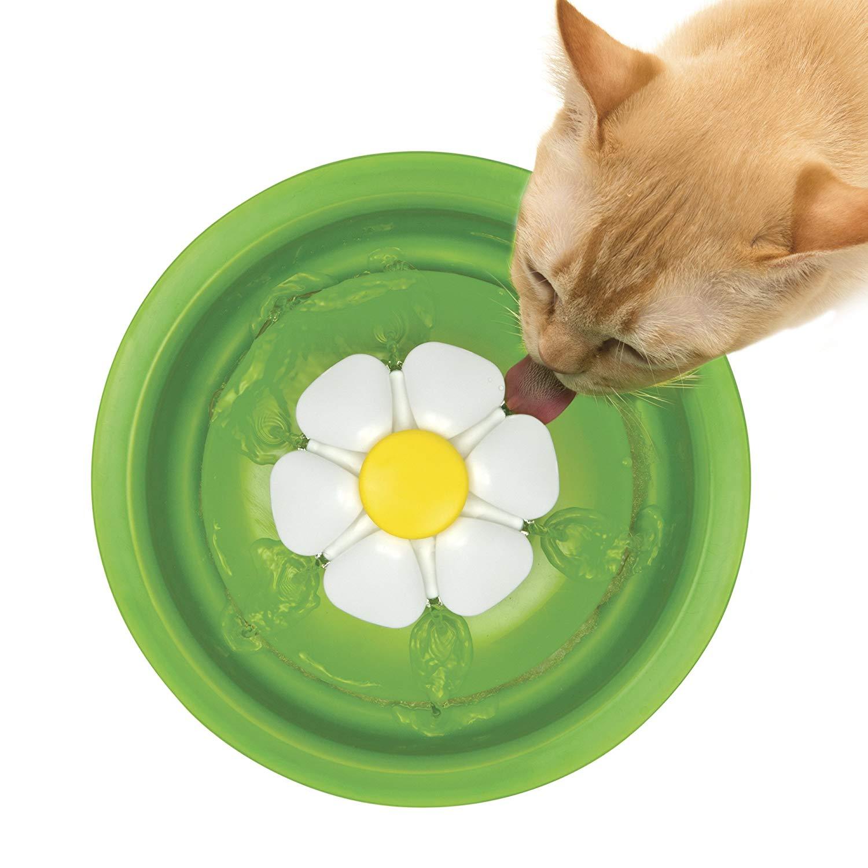 Catit Flower Cat Water Fountain cat drinking